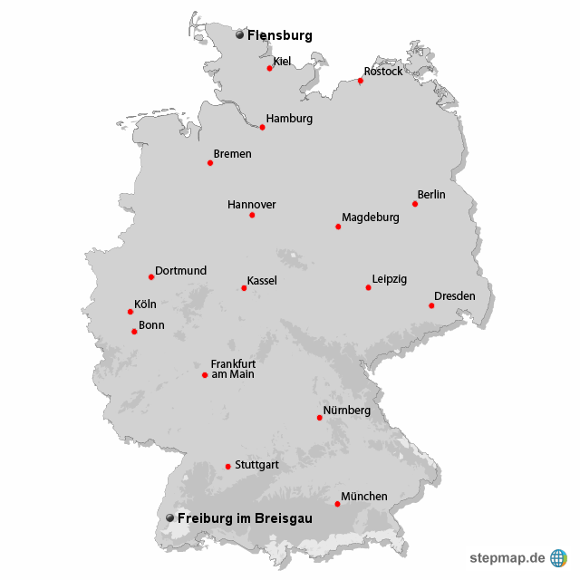 Flensburg Karte.Stepmap Von Flensburg Nach Freiburg Landkarte Für Deutschland