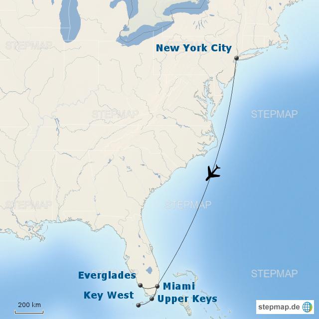 Karte Florida Miami.Stepmap Von New York Nach Florida Landkarte Fur Nordamerika