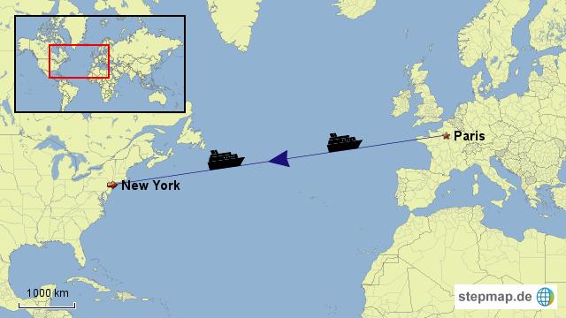 stepmap von paris nach new york landkarte f r deutschland. Black Bedroom Furniture Sets. Home Design Ideas