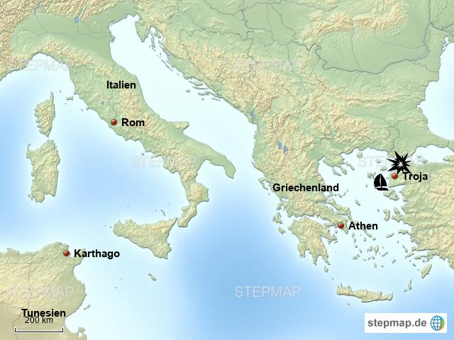Stepmap Von Troja Nach Rom Landkarte Fur Europa