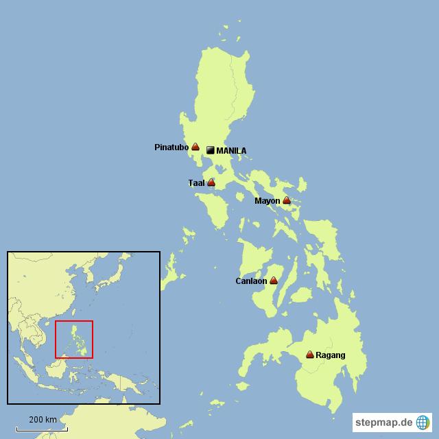 Vulkane Philippinen Karte.Stepmap Vulkane Auf Den Philippinen Landkarte Für Philippinen