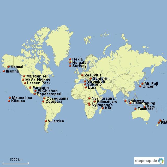 Vulkane Der Erde Karte.Stepmap Vulkane Der Erde Landkarte Für Deutschland