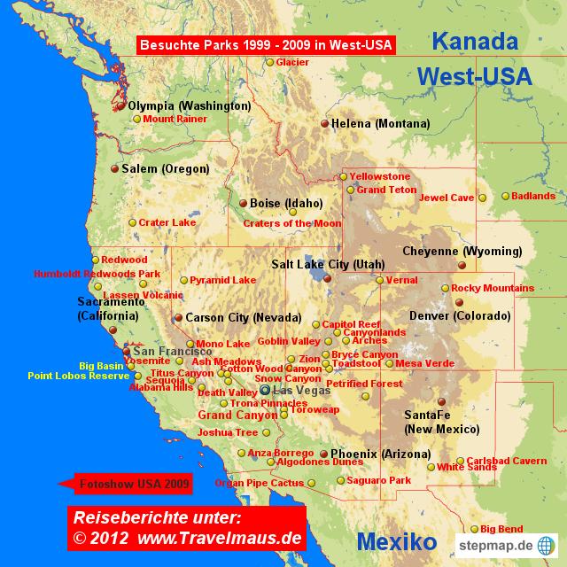 Karte Usa Westen.Stepmap West Usa Sehenswertes Landkarte Für Usa