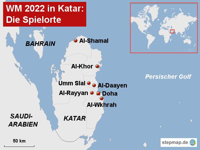 Wm 2018 Spielorte Karte.Stepmap Wm 2022 In Katar Landkarte Für Afrika
