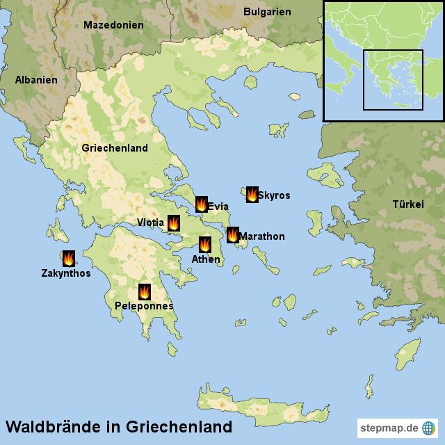 Waldbrände Portugal Karte.Stepmap Waldbrände In Griechenland Landkarte Für Griechenland