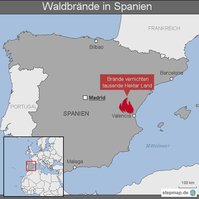 Schweden Waldbrände Karte.Stepmap Waldbrände In Spanien Landkarte Für Deutschland