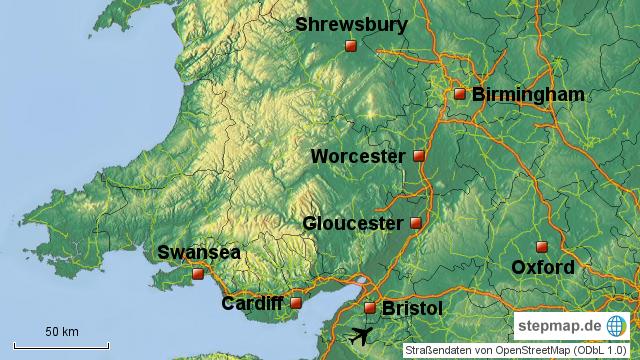 Birmingham Karte.Stepmap Wales 2016 Bristol Birmingham Landkarte Fur