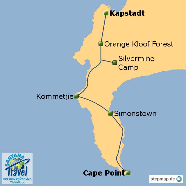 kap der guten hoffnung karte StepMap   Wandertour zum Kap der Guten Hoffnung   Landkarte für
