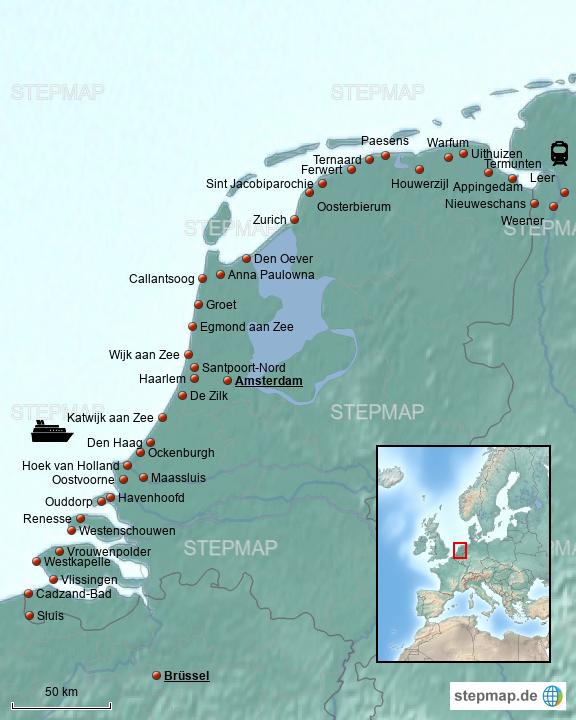 Karte Nordseeküste Holland.Stepmap Wanderung Niederländische Nordseeküste Landkarte Für