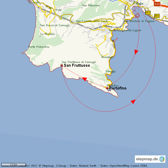 portofino karte StepMap   Wanderung Portofino   San Fruttuoso   Landkarte für Welt portofino karte