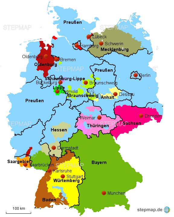 weimarer republik karte StepMap   Weimarer Republik   BRD Föderale Aufteilung   Landkarte