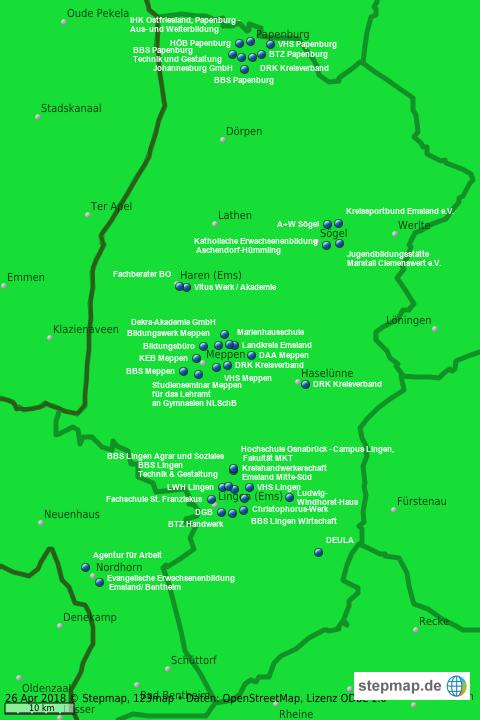 Emsland Karte.Stepmap Weiterbildungseinrichtungen Im Landkreis Emsland
