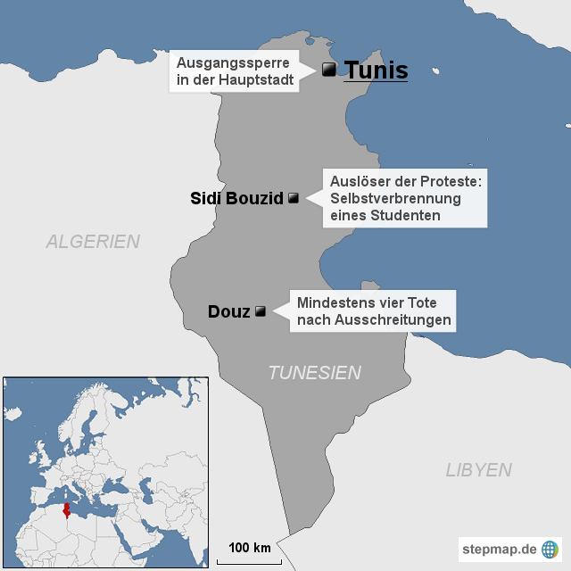 Tunesien Karte Welt.Stepmap Welt Neue Krawalle In Tunesien Landkarte Für Tunesien