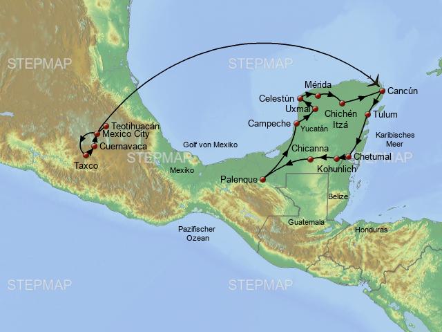 Mexiko Karte Welt.Stepmap Welt Der Azteken Maya Landkarte Fur Mexiko