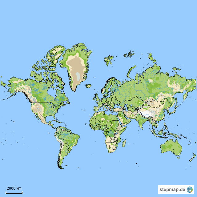 Stepmap Welt Topographisch Mit Ländergrenzen Landkarte Für Welt