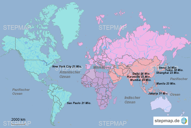 Karte Kontinente Welt.Stepmap Weltkarte Metropolen Kontinente Landkarte Fur Welt