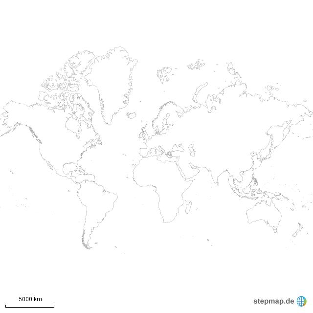 stepmap weltkarte schwarz wei landkarte f r welt. Black Bedroom Furniture Sets. Home Design Ideas