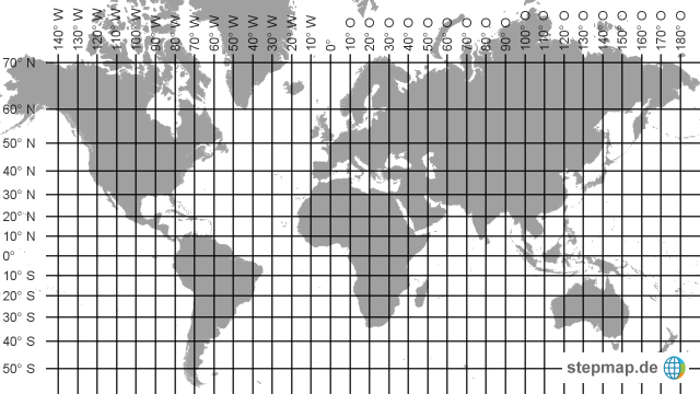 weltkarte mit gradnetz StepMap   Weltkarte   leer mit Gradnetz   Landkarte für Welt weltkarte mit gradnetz