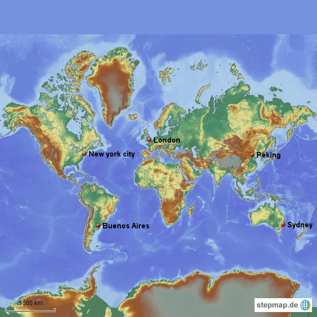 Weltkarte mit 5 wichtigen Städten von PAHA Landkarte für