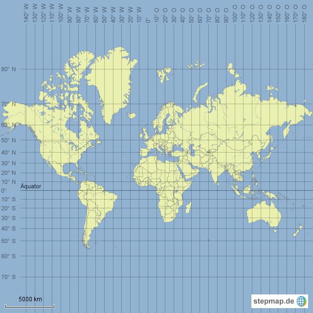 weltkarte mit gradnetz StepMap   Weltkarte mit Gradnetz   Landkarte für Welt weltkarte mit gradnetz