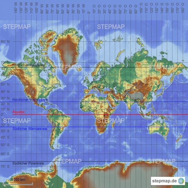 weltkarte mit gradnetz StepMap   Weltkarte mit Gradnetz etc.   Landkarte für Deutschland weltkarte mit gradnetz