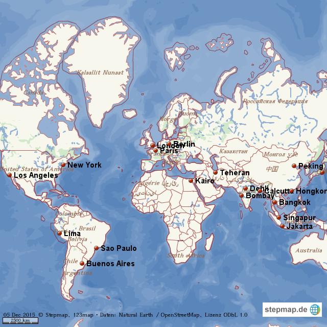 StepMap Weltkarte mit Städten Landkarte für Welt