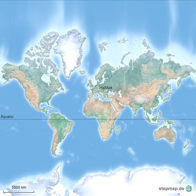 weltkarte mit äquator StepMap   Weltkarte physisch mit Äquator   Landkarte für Welt weltkarte mit äquator