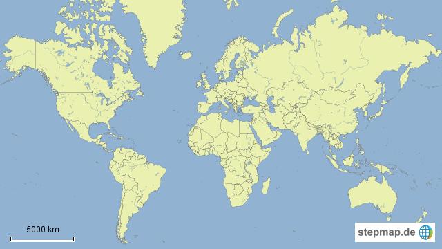 weltkarte meere StepMap   Weltkarte, stumm Ländergrenzen und Meere   Landkarte für  weltkarte meere