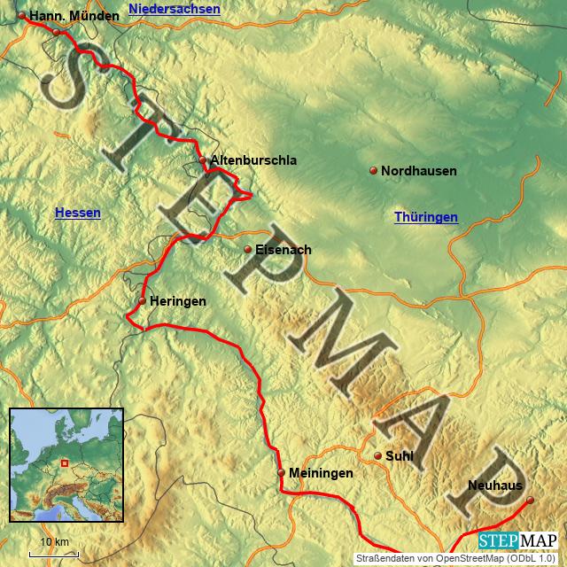 Werratal Radweg Karte.Stepmap Werra Radweg Landkarte Für Deutschland