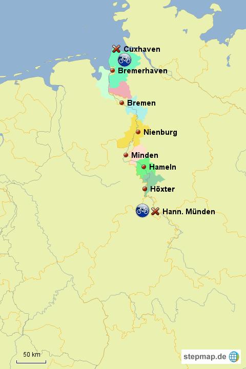 Weser Radweg Karte.Stepmap Weser Radweg Landkarte Für Deutschland