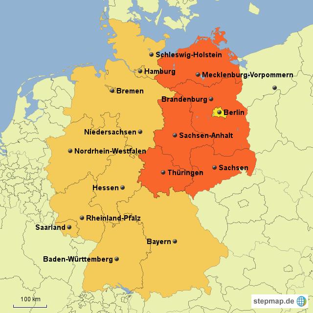 deutschlandkarte ost west StepMap   West Ost Deutschland   Landkarte für Deutschland