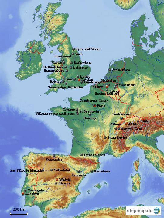 stepmap westeuropa st dte landkarte f r europa. Black Bedroom Furniture Sets. Home Design Ideas