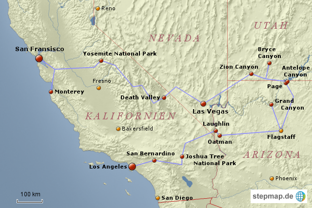 usa karte westküste StepMap   Westküste USA   Landkarte für USA