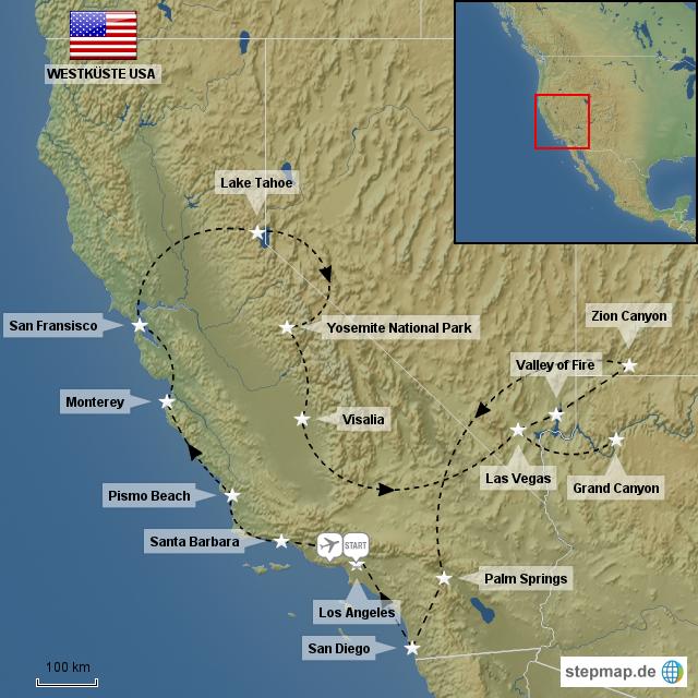 westk ste usa von jensberberich landkarte f r nordamerika. Black Bedroom Furniture Sets. Home Design Ideas