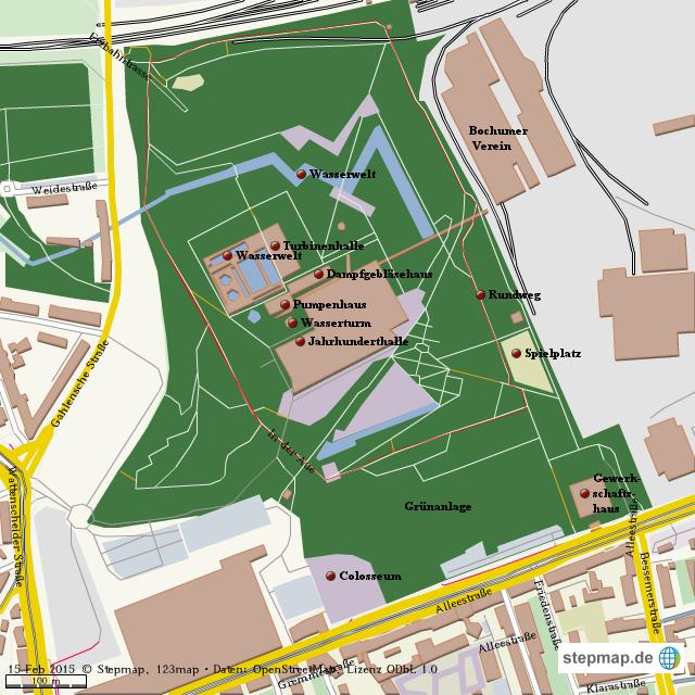 Bochum Karte.Stepmap Westpark Bochum Landkarte Für Welt