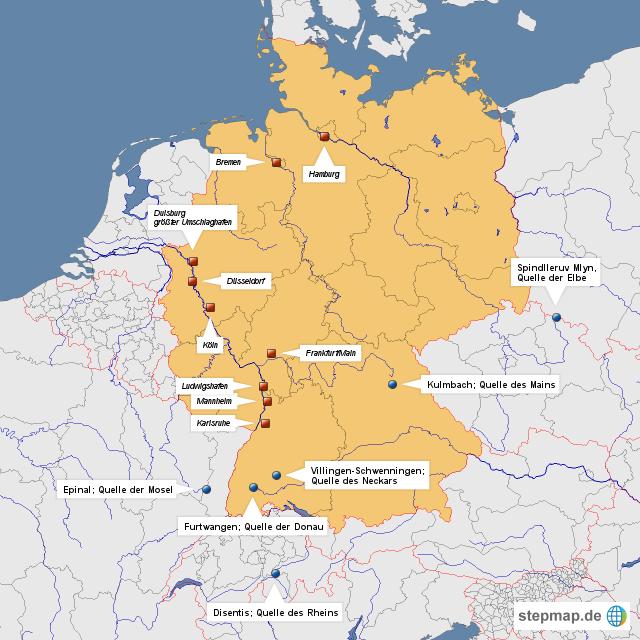 stepmap wichtige deutsche fl sse und ihr ursprung landkarte f r deutschland. Black Bedroom Furniture Sets. Home Design Ideas