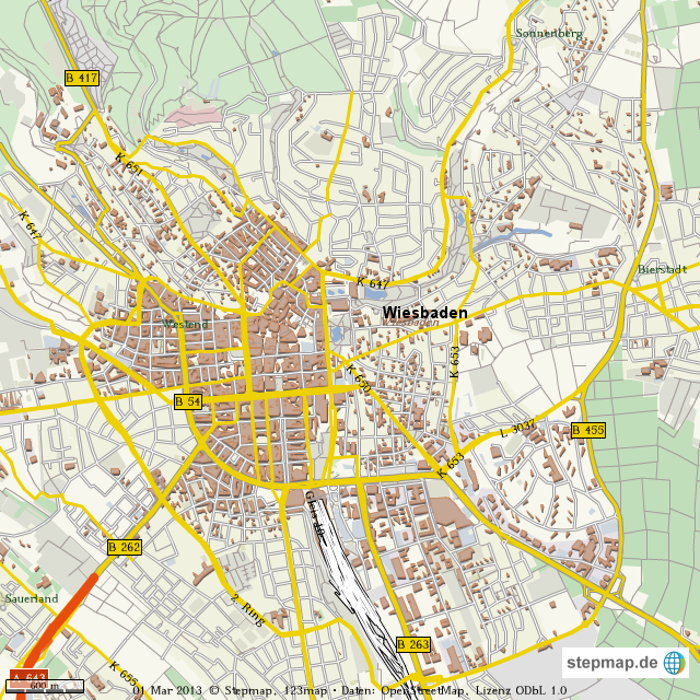 Landkarte Wiesbaden