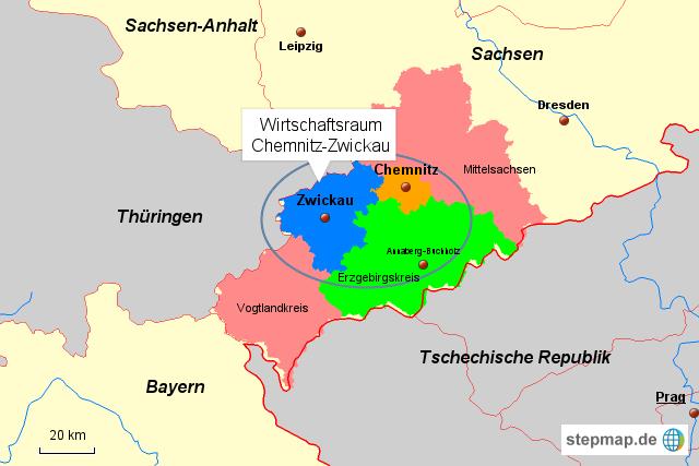 Zwickau Karte.Stepmap Wirtschaftsraum Chemnitz Zwickau Landkarte Für Deutschland