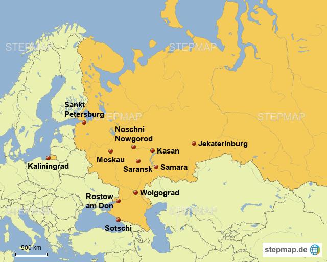 Wm 2018 Spielorte Karte.Stepmap Wm 2018 Spielorte Landkarte Für Deutschland
