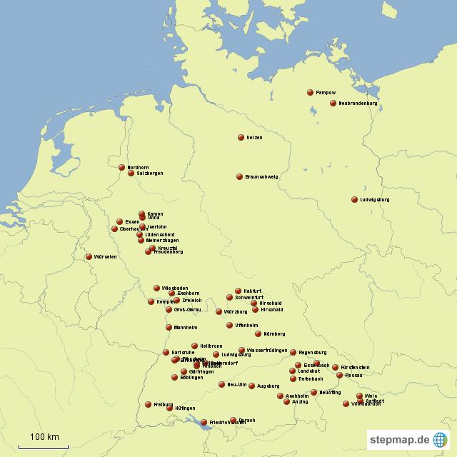 stepmap xxxlutz standorte landkarte f r deutschland. Black Bedroom Furniture Sets. Home Design Ideas
