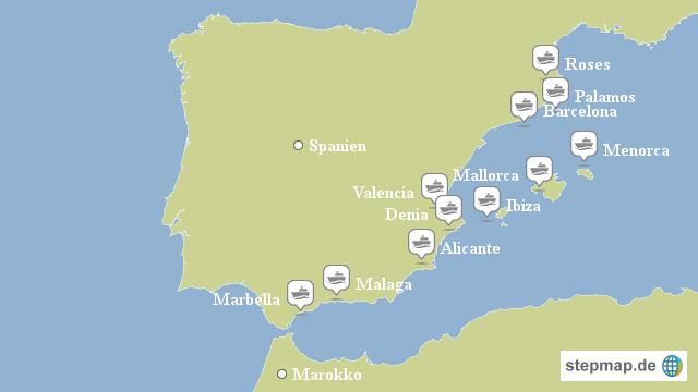 Spanien Karte Küsten.Stepmap Yachtcharter Spanische Küste Landkarte Für Spanien