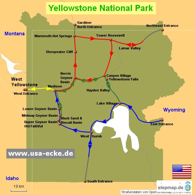 StepMap - Yellowstone N.P. - Landkarte für Nordamerika