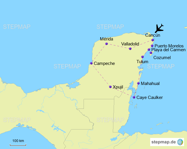 yucatan karte StepMap   Yucatan Halbinsel   Landkarte für Südamerika yucatan karte