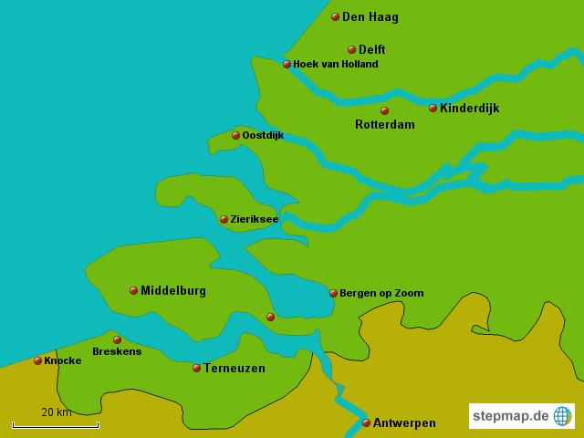 Zeeland Karte Niederlande.Stepmap Zeeland Landkarte Für Niederlande