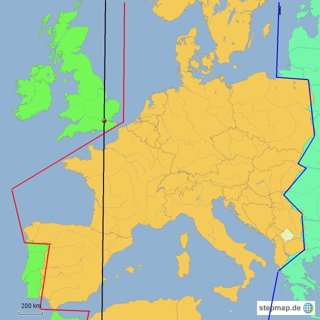 zeitzonen europa karte StepMap   Zeitzonen Europa   Landkarte für Deutschland zeitzonen europa karte