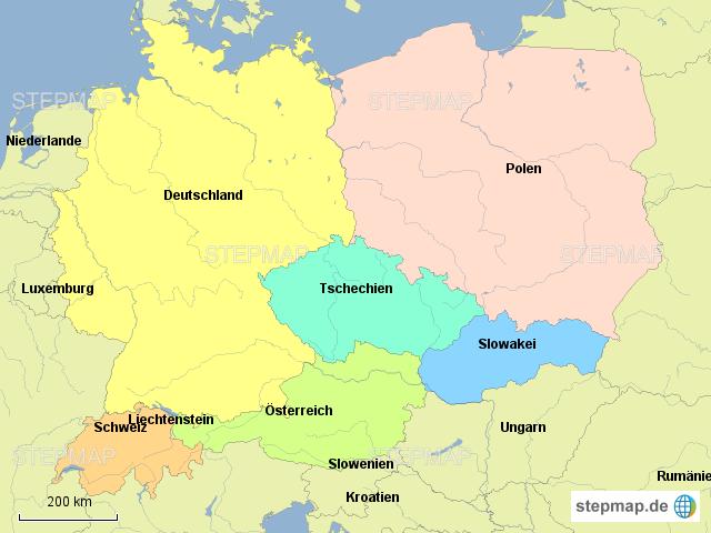 zentraleuropa karte StepMap   Zentraleuropa Länder   Landkarte für Deutschland zentraleuropa karte