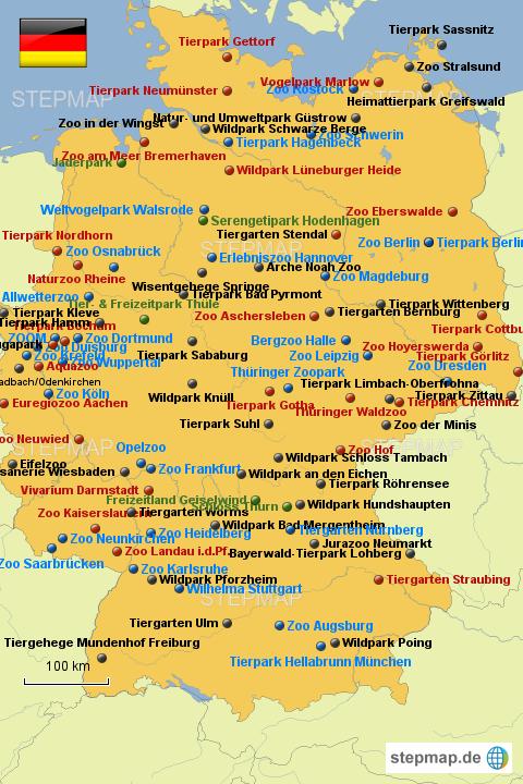 zoo karte deutschland StepMap   Zoos BRD   Landkarte für Deutschland