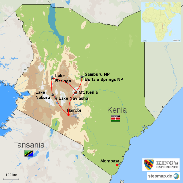 Mount Kenia Karte.Stepmap Zum Mt Kenia Und Ins Samburuland Landkarte Fur