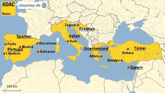 adac landkarten ADAC Reisen Reisejournal Südeuropa von Tour   Landkarte für Europa adac landkarten