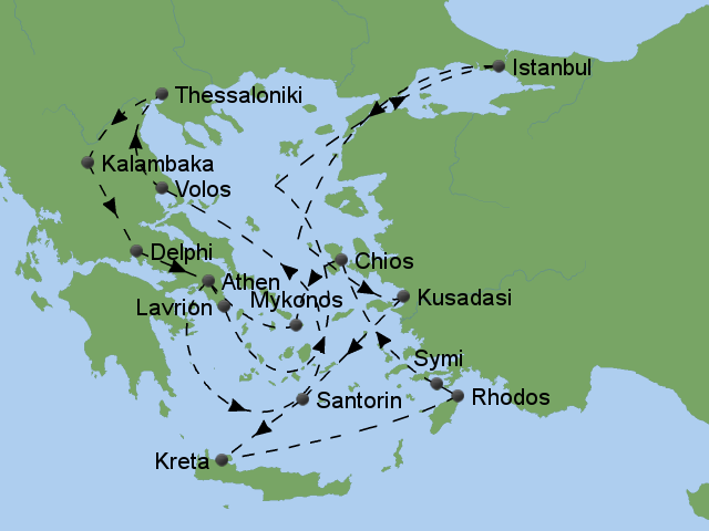 Thessaloniki Karte.Stepmap ägäis Rundreise Thessaloniki Landkarte Für Europa